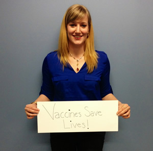 One of the many Shot@Life Champions showing support for global vaccines.