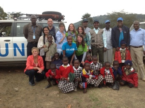 ECBT Executive Director Amy Pisani, ECBT's Vaccine Ambassador to Shot@Life Amanda Peet, along with Shot@Life and UNICEF staff in Africa.
